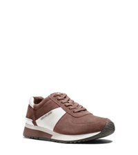 Michael Kors Allie Suede And Saffiano Leather Sneaker Dusty Rose