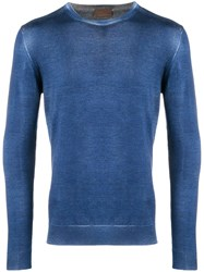 Altea Washed Effect Fitted Sweater Blue