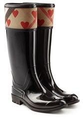 Burberry Shoes And Accessories Patent Wellington Boots With Heart Print Black