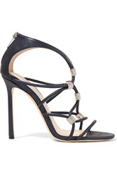 Jimmy Choo Momento Tetrus Swarovski Crystal Embellished Leather Sandals Navy