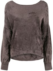 Roberto Collina Textured Knit Sweater Brown