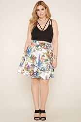 Forever 21 Plus Size Tropical Print Skirt