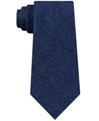 Kenneth Cole Reaction Marble Solid Silk Tie Navy