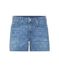 7 For All Mankind Slouchy Denim Shorts Blue