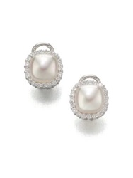 Majorica 9Mm White Mabe Pearl And Sterling Silver Halo Stud Earrings