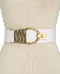 Inc International Concepts Hook Front Stretch Belt Only At Macy's White