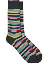 Richard James Broken Stripe Mid Calf Socks Grey