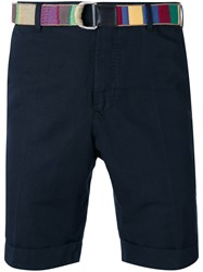 Pt01 Belted Tailored Shorts Men Cotton Linen Flax 46 Blue