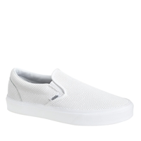 J.Crew Unisex Vans Classic Slip On Sneakers In Perforated Leather White
