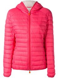 Save The Duck Hooded Puffer Jacket Women Nylon Polyester 2 Pink Purple