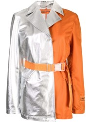 Heron Preston Two Tone Coat Orange