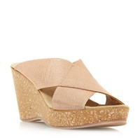 Linea Kady Elasticated Cross Over Strap Wedge Sandal Rose Gold