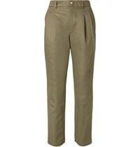 De Bonne Facture Pleated Cotton Drill Chinos Green