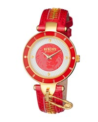Versus By Versace 37Mm Key Biscayne Ii Watch W Leather Zipper Strap Red