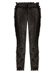 Msgm High Rise Sequin Embellished Trousers Black