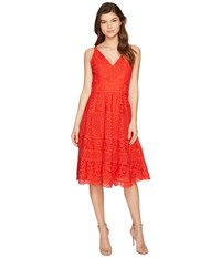 Adelyn Rae Laureen Woven Lace Midi Fit And Flare Red Women's Dress