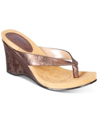 Style And Co Chicklet Wedge Thong Sandals Created For Macy's Women's Shoes Bronze
