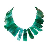 Dripping In Gems Emerald Green Agate Necklace Silver