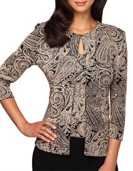 Alex Evenings Plus Paisley Print Twinset Beige