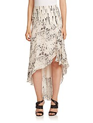 Haute Hippie Printed Silk Hi Lo Ruffle Skirt Feather