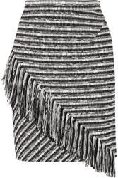 Raoul Asymmetric Fringed Boucle Skirt Black