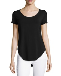 Dex Scoop Neck Shirttail Hem Tee Black