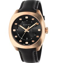 Gucci Ya142309 Gg2570 Pink Gold And Leather Watch