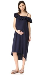 Hatch The Daisy Flutter Dress Soft Navy