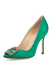 Hangisi Satin Crystal Toe Pump Green Manolo Blahnik