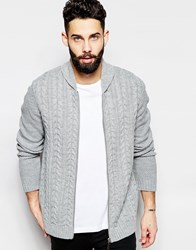 Asos Cable Knit Bomber Jacket Grey