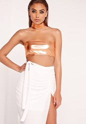 Missguided Metallic Bandeau Bralet Copper Copper