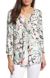 Chaus Jungle Collage Pintuck Blouse 103 New Ivory