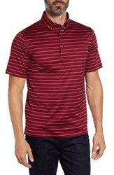 Bugatchi Stripe Knit Polo Wine