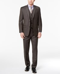 Michael Kors Men's Classic Fit Stretch Brown Stepweave Vested Suit