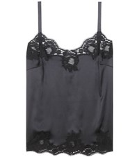 Dolce And Gabbana Lace Trimmed Silk Top Black
