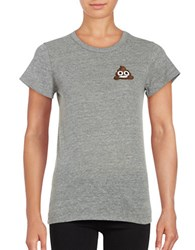Bow And Drape Poo Emoji Tee Heather Grey