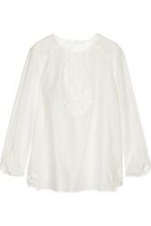 Thakoon Crochet Trimmed Cotton And Silk Blend Top