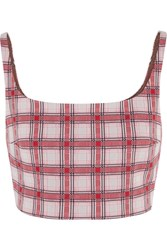 Prada Cropped Checked Jacquard Knit Top Red