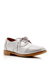 Toms Brogue Metallic Crackled Leather Lace Up Oxfords Silver