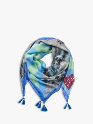 Betty Barclay Sequin Heart Floral Scarf Blue Multi