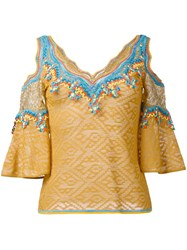 Peter Pilotto Embroidered Cold Shoulder Blouse Women Polyamide Polyester Viscose 14 Yellow Orange