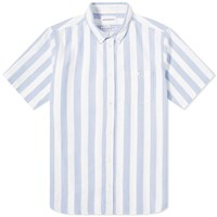 Norse Projects Short Sleeve Theo Wide Stripe Oxford Shirt Blue