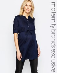 Mama Licious Mamalicious Woven Tunic With Belt Detail Navy