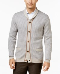 Tasso Elba Men's Shawl Collar Texture Cardigan Only At Macy's Ash Tan Heather