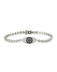 Diana M. Jewels 18K White Gold Diamond And Sapphire Evil Eye Bracelet 0.15Tcw