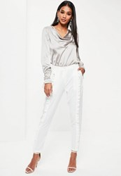 Missguided White Front Frill Cigarette Trousers