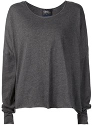 Umitunal Oversized Long Sleeve T Shirt Grey