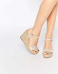 Miss Kg Pauline Espadrille Wedges Gold Comb Synthetic