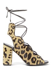 Saint Laurent Leopard Print Calf Hair Lace Up Sandals Leopard Print