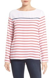 Nydj Stripe Woven Top Red